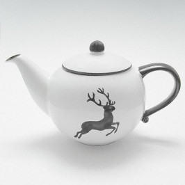 Gmundner Keramik Grauer Hirsch Teekanne glatt 1,5 L / h: 16,5 cm
