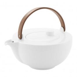 Friesland Chai Weiß - Nussbaumholz Teekanne mit Holzhenkel aus Nussbaum 1,0 l