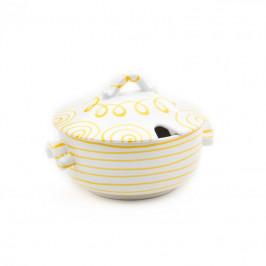 Gmundner Keramik Gelbgeflammt Suppentopf glatt 2 L / h: 18 cm
