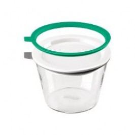 Thomas Kitchen Food storage container material glass + porcelain lid + 2 silicon rings (green and grey) h: 8 cm / 0,5 l