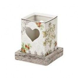 Hutschenreuther Winterromantik Tea Light Holder with Wooden Base big h: 11 cm