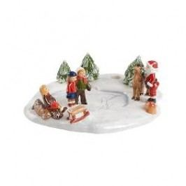Villeroy & Boch Mini Christmas Village Decorative figurine 'Skating scene' with tealight holder 15.5x14x5.5 cm