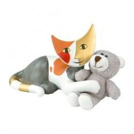 Goebel Rosina Wachtmeister - Katzenleben Decorative figurine 'Cat with cuddly toy-Saba con balocco' h: 10 cm