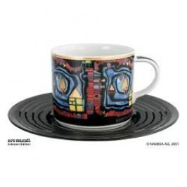 Königlich Tettau Hundertwasser Coffee Edition Coffee Cup the End of the Waters with Saucer 0.21 L