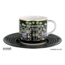 Königlich Tettau Hundertwasser Coffee Edition Coffee Cup Art House Vienna with Saucer 0.21 L