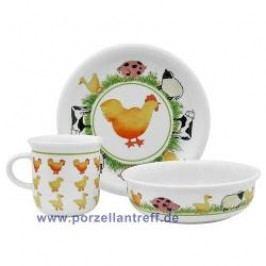 Arzberg Farm Animals Childrens Set 3 Pcs Breakfast Plate, Dessert Bowl, Mug with handle