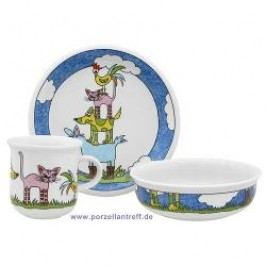 Arzberg Bremen Town Musicians Childrens Set 3 Pcs Breakfast Plate, Dessert Bowl, Mug with handle