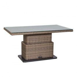 Siena Garden Teramo Lounge Lift-Tisch 130x75 cm Geflecht mit Spraystoneplatte Bronze