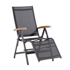Sieger Cadiz Relaxsessel Aluminium/Textilene mit Teakarmlehnen Eisengrau/Grau