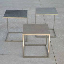 Jan Kurtz Pizzo Beistelltisch 40x40cm Edelstahl/Keramik Silber/Grau
