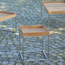 Jan Kurtz Pizzo Beistelltisch 60x60cm Edelstahl/Teak Silber/Teak