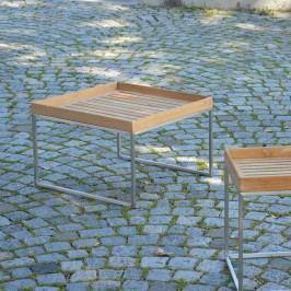 Jan Kurtz Pizzo Beistelltisch 110x60cm Edelstahl/Teak Silber/Teak