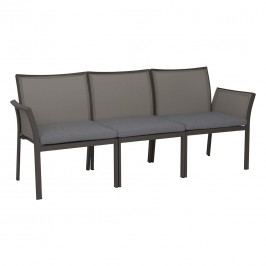 Stern Gianni Modulbank 3-teilig Aluminium/Textilene inklusive Kissen Taupe/Kieselgrau/Braun