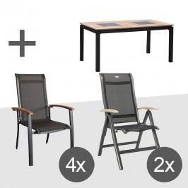 Hartman Alice/Linz Sitzgruppe Mix 4+2 5tlg Tisch 160cm Xerix/Anthrazit/Teak