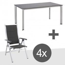 MWH Evano Gartenmöbelset 5tlg mit Lofttisch 160x95cm Silber/Anthrazit