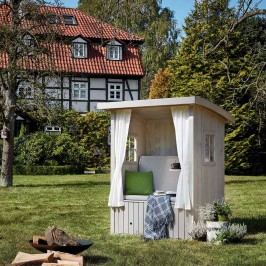 Gerling Living Hüttenglück Strandkorb Fichte/Polsterpaket Wolke Sieben mit Vorhängen Silbergrau/Creme