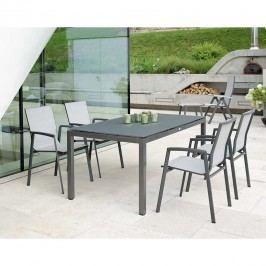 Stern New Top Stapelsessel-Gartenmöbelset 5-teilig mit Tisch 160x90cm Anthrazit/Silber