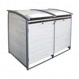 Habau Doppel Mülltonnenbox 120 Liter Holz/Blech Weiß/Grau