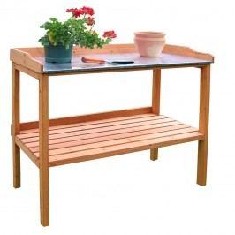 Habau Gartentisch/Pflanztisch mit verzinkter Arbeitsplatte Holz/Blech Braun