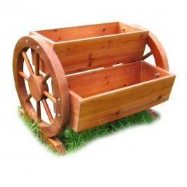 Habau Blumenkasten mit Wagenrad Holz Braun
