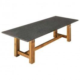 OUTLIV. Voss Gartentisch 180x90cm Teak/Granit Pearl Black Satiniert