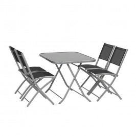 Siena Garden Kalua Sitzgruppe Klapp 5tlg Stahl/Textilene Silber/Schwarz