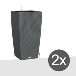 Lechuza Cubico Pflanztopfset 2-teilig 40x40x75cm Kunststoffgeflecht Granit