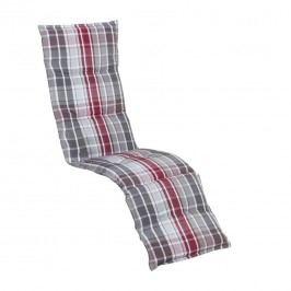 Sun Garden Naxos Relaxsesselauflage 49x174x6cm Polyester Karo Grau-Rot/Pink