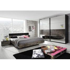 Schlafzimmer Bett 180 X 200 Cm Schwarz/ Vintage-Optik Braun Rauch Packs Sumatra Holz Modern