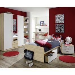 Jugendzimmer Mit Bett 90 X 200 Cm Alpinweiss/ Eiche Sonoma Rauch Packs Point Holz Modern
