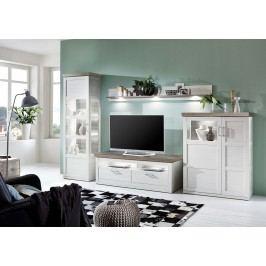 Wohnwand Pino Aurelio/ Eiche Sanremo Ideal Möbel Bana Weiß Holz Modern
