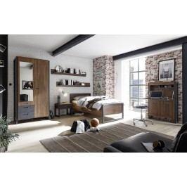 Schlafzimmer Mit Bett 90 X 200 Cm Stirling Oak/ Matera Imv Detroit Eiche Holz Modern