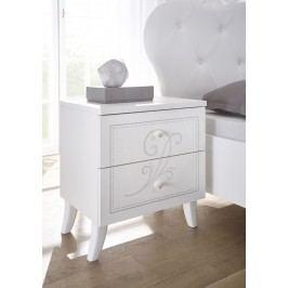 Nachtkommde Weiss Mit Siebdruck Classico Nivea Weiß Holz Modern