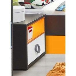 Nachtkonsole Grau/ Weiss/ Orange Forte MÖbel Colors Holz Modern
