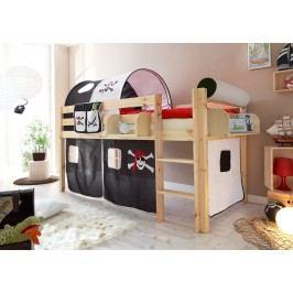 Hochbett Spielbett Kinderbett Kiefer Natur ´´pirat Schwarz-Weiß´´ Mvh-Ticaa Malte Modern