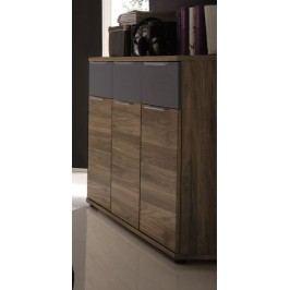 Kommode Columbia Nussbaum/ Schwarz Matt Polpower Dandy Holz Modern