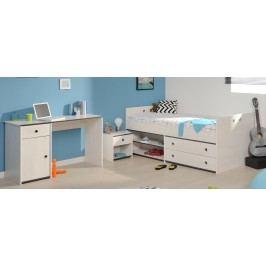Jugendzimmer Mit Bett 90 X 200 Cm Kiefer Weiss/ Kanten Pink Oder Blau Parisot Smoozy 27 A / B Weiß Holz Modern
