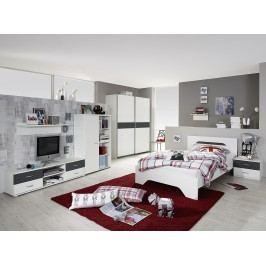 Jugendzimmer Mit Bett 120 X 200 Cm Alpinweiss/ Grau-Metallic Rauch Packs Noosa Modern
