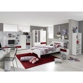 Jugendzimmer Mit Bett 140 X 200 Cm Alpinweiss/ Granatrot Rauch Packs Noosa Weiß Holz Modern