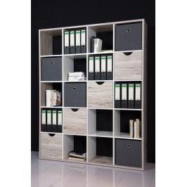 Regal / Raumteiler Sandeiche/ Weiss Bega 4 Ordauq Holz Modern