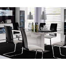 Esstisch Weiss Hochglanz Mit Schwarzer Glaseinlage Mca-Furniture Lorano Weiß Holz Stylisch