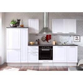 Küchenzeile Küchenblock Weiss Hochglanz/ Stone Dark Bega Welcome 6 Weiß Holz Modern