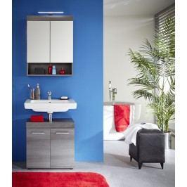 Badezimmer Set Mit Waschbeckenunterschrank Und Spiegelschrank Rauchsilber Sardegna Trendteam Runner Holz Modern
