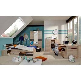 Jugendzimmer Mit Bett 90 X 200 Cm Eiche Sägerau/ Lavafarbig Wimex Game Modern
