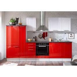 Küchenzeile Küchenblock Weiss Rot Hochglanz/ Stone Dark Mit Elektrogeräten Bega Welcome 6 Holz Modern