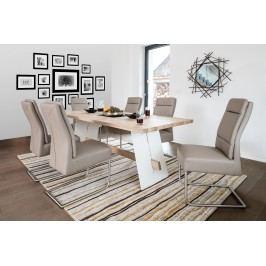 Esstischgruppe Mit 6 Freischwingern Kunstleder Schlamm Und Esstisch 200x95 Eiche Bianco/ Weiss Standard Furniture Aladin/ Nura Mehrfarbig Holz Modern