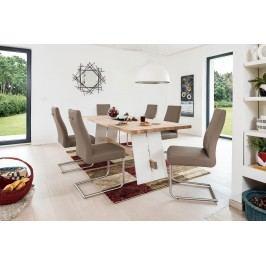 Esstischgruppe Mit 6 Freischwingern Kunstleder Sahara Und Esstisch 200x95 Eiche Bianco/ Weiss Standard Furniture Aladin/ Gina Mehrfarbig Holz Modern