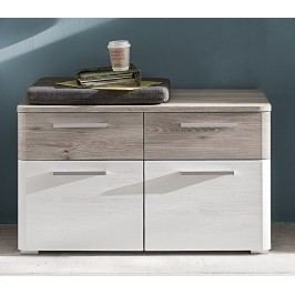 Garderobenbank Weiss Struktur Woodlook/ Nelson Eiche Trendteam Dublin Weiß Holz Modern