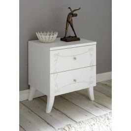 Nachtkommode Weiss Geriffelt Mit Siebdruck Classico Soler Weiß Holz Modern
