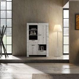 Highboard Weisseiche Classico Land Weißeiche Holz Modern
